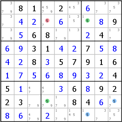 Sudoku technique: Example for 2-String+Kite