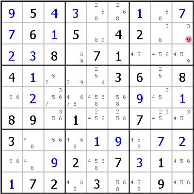 Sudoku technique: Example for Avoidable+Rectangle+Type+1