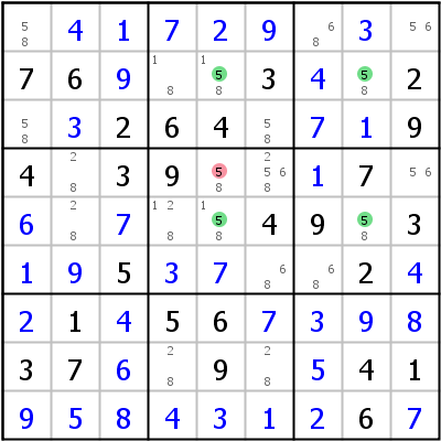 Sudoku technique: Example for X-Wing