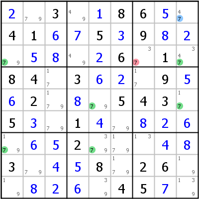 Sudoku technique: Example for Finned+Swordfish