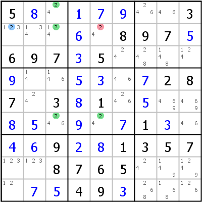 Sudoku technique: Example for Finned+Franken+X-Wing