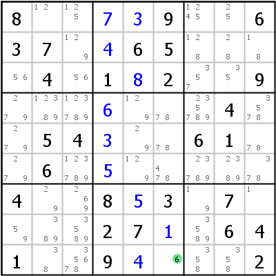 Sudoku L�sungstechnik: Beispiel f�r Full+House