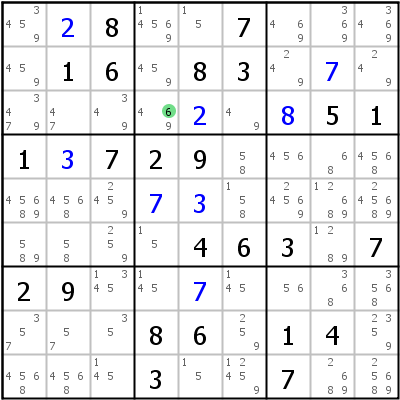 Sudoku L�sungstechnik: Beispiel f�r Hidden+Single