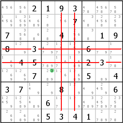 Sudoku L�sungstechnik: Beispiel f�r Hidden+Single+%28cross+hatching%29