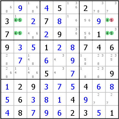 Sudoku technique: Example for Hidden+Rectangle