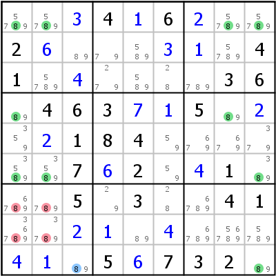 Sudoku technique: Example for %28Finned%29+Sashimi+Jellyfish