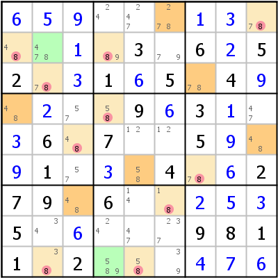 Sudoku technique: Example for Simple+Colors