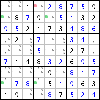 Sudoku technique: Example for Skyscraper