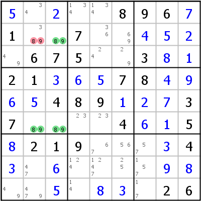 Sudoku technique: Example for Unique+Rectangle+Type+1