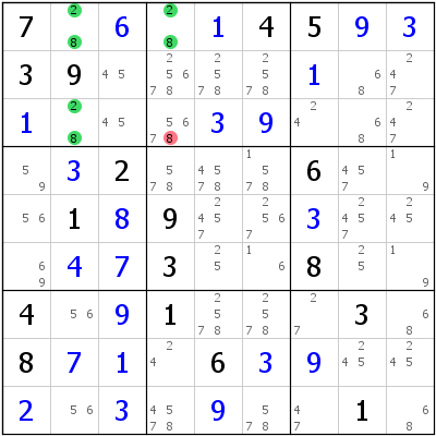 Sudoku technique: Example for UR+Type+1+with+missing+candidate