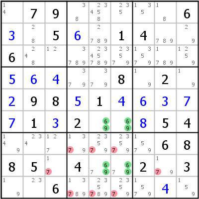 Sudoku technique: Example for Unique+Rectangle+Type+2