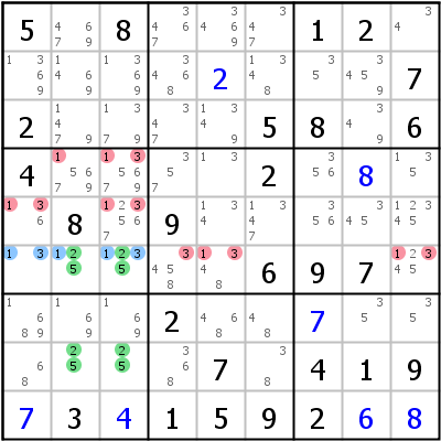Sudoku technique: Example for Unique+Rectangle+Type+3