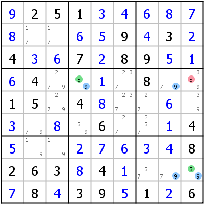Sudoku technique: Example for W-Wing