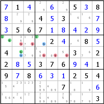 Sudoku technique: Example for XY-Wing