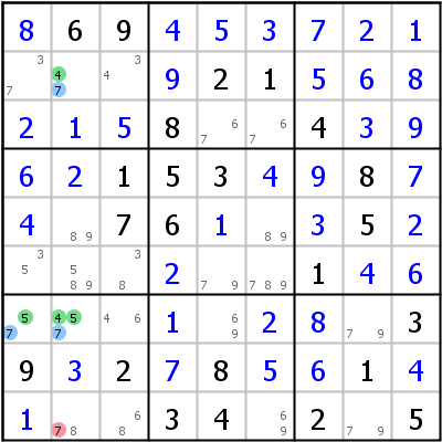 Sudoku technique: Example for XYZ-Wing